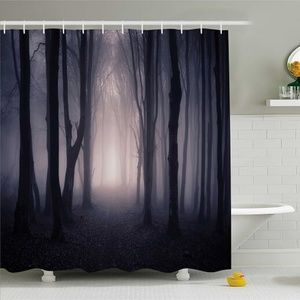 Shower Curtain Spooky Night Forest Print